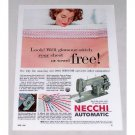 1955 Necchi Automatic Sewing Machine Color Print Ad