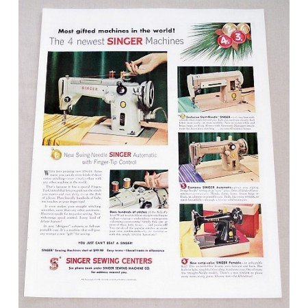 1956 Singer Sewing Centers Color Sewing Color Print Ad - 4 Machines