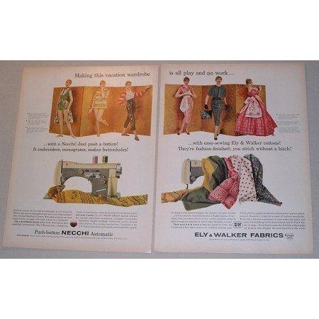 1957 Necchi Supernova Sewing Machine 2 Page Color Print Ad