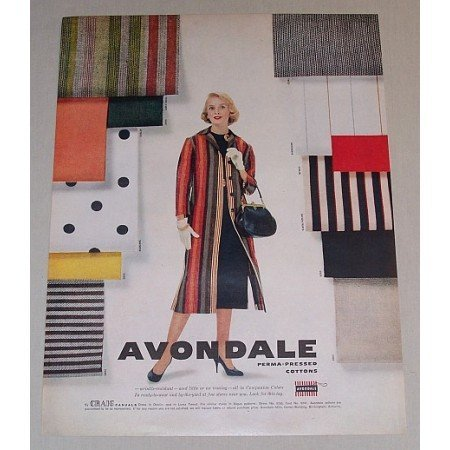 1958 Avondale Perma-Pressed Cottons Color Vintage Print Ad