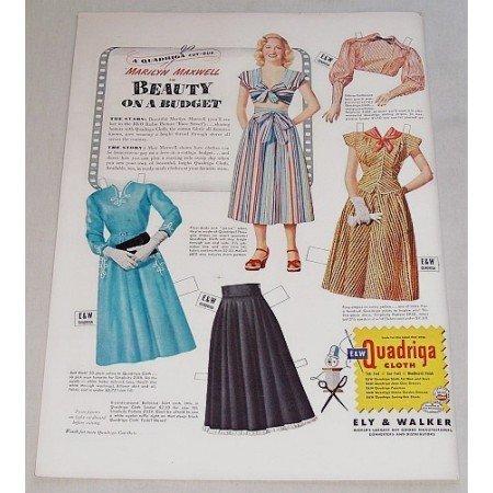 1948 Quadriga Cloth Paper Doll Color Print Ad Marilyn Maxwell