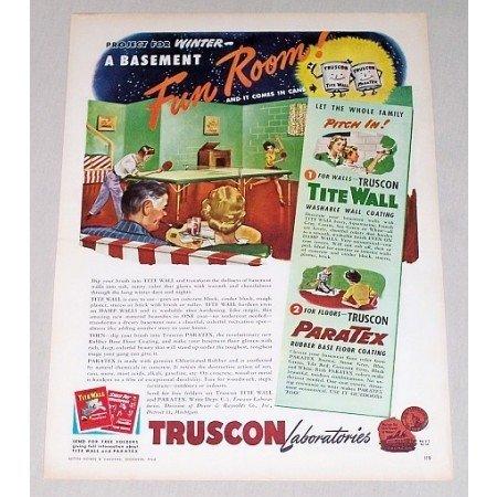1946 Truscon Tite Wall Brick Block Paint Color Print Art Ad