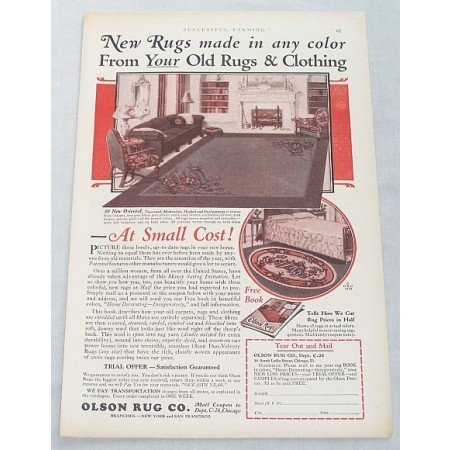 1929 Olson Oriental Area Rugs Color Print Ad - Small Cost