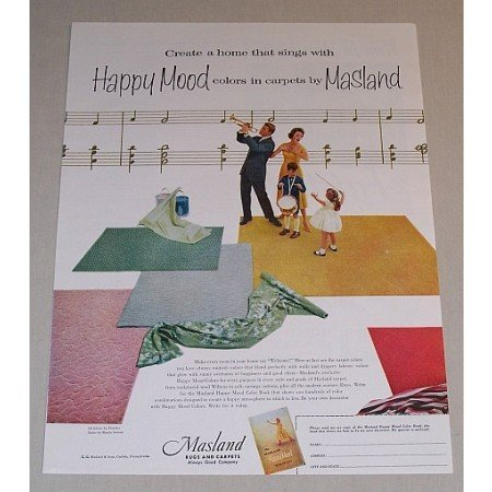 1957 Masland Rugs and Carpets Color Print Music Art Ad - Happy Mood