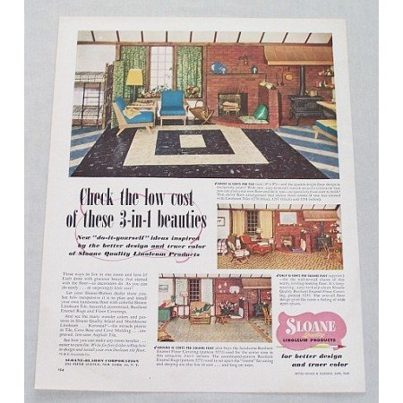 1949 Sloane Linoleum Products Color Print Ad - 3-In-1 Beauties