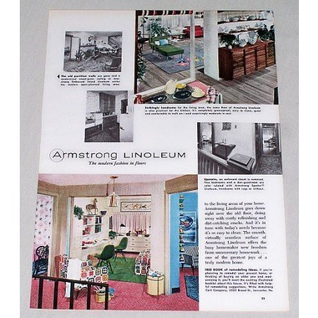 1955 Armstrong Linoleum Color Print Ad - Fashion For Floors