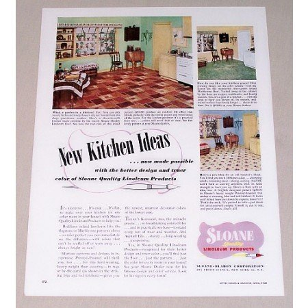 1948 Sloane Linoleum Flooring Color Print Ad - Kitchen Ideas