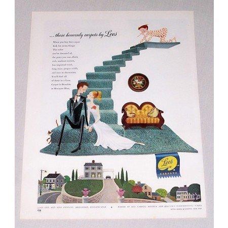 1949 Lees Carpets Color Print Art Ad - Those Heavenly Carpets