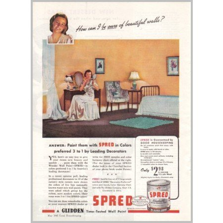 1945 Glidden Spred Washable Paint Color Print Ad