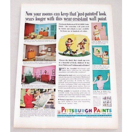 1956 Pittsburgh Rubberized Wallhide Satin Paints Color Print Ad