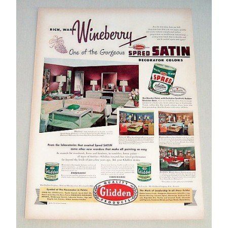 1951 Glidden Florenamel Wall Paint Color Print Ad - Wineberry