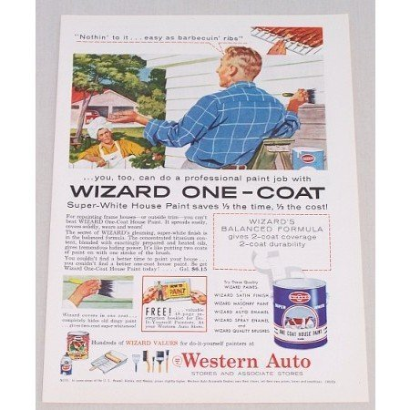 1956 Western Auto Wizard House Paint Color Print Ad - Nothing To It