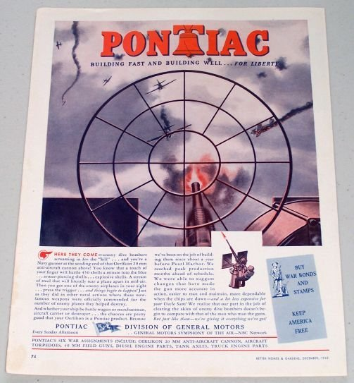 1943 Pontiac Wartime WWII Vintage Color Print Ad - Enemy Dive Bombers