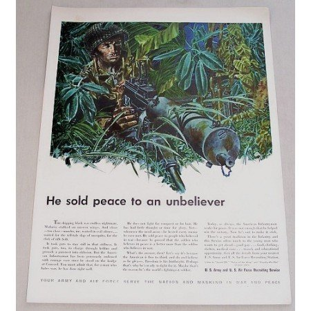 1948 US Army Air Force Recruiting Service Color Print Jungle Art Ad