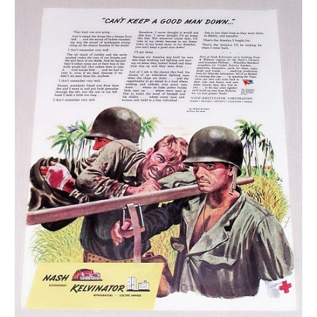 1944 Nash Kelvinator Wartime Art Color Print WWII Ad CAN'T KEEP A GOOD MAN DOWN