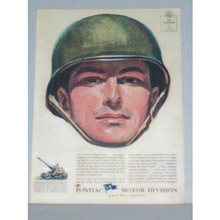 1944 Pontiac Motor Division Wartime Crandell Art Color Print Ad