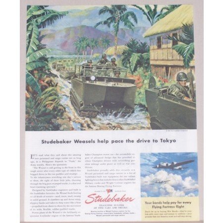1945 Studebaker Color Wartime Art Color Print WWII Ad STUDEBAKER WEASELS