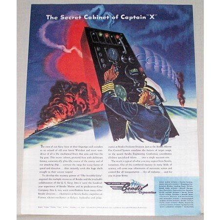 1944 Bendix Aviation Wartime Color Print Ad SECRET CABINET OF CAPT. X