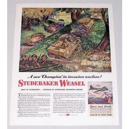1944 Studebaker Weasel Cargo Carrier Color Wartime Art Color Print WWII Ad