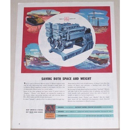 1945 GM Diesel Power Series 71 Twin Unit Wartime Color Print Ad
