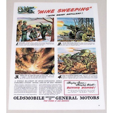 1945 Oldsmobile Color Wartime Art Color Print Ad MINE SWEEPERS