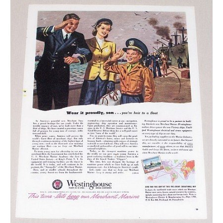 1945 Westinghouse Color Wartime Vintage Print Ad WEAR IT PROUDLY SON