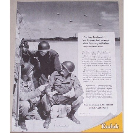 1945 Kodak Wartime Vintage Print Ad ON THE NORMANDY BEACH