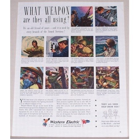 1945 Western Electric Color Wartime Color Print Art Ad - WHAT WEAPON?