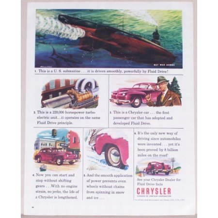 1945 Chrysler Corp. Color Wartime Color Print Art Ad U.S. SUBMARINE