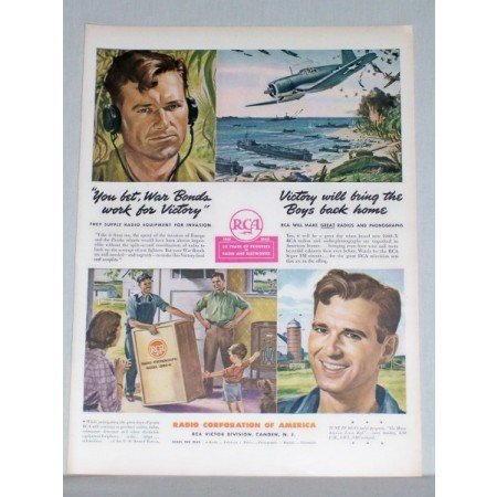1944 RCA Radio Corp. Color Wartime Color Print Ad - War Bonds Work