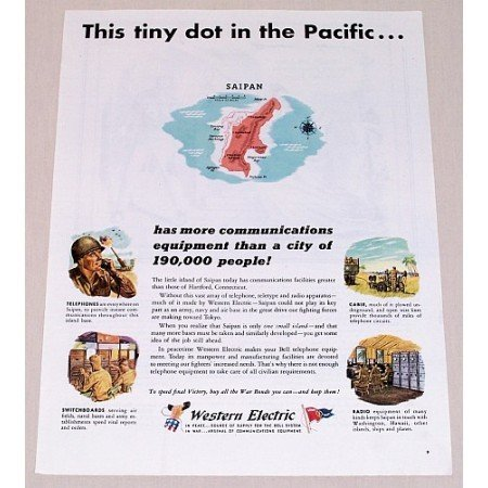 1945 Western Electric Color Wartime Color Print Ad SAIPAN ISLAND