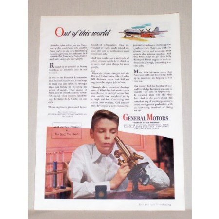 1945 General Motors Color Print Ad Boy With Microscope