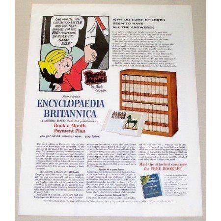 1966 Encyclopedia Britanica Dennis The Menace Color Print Ad