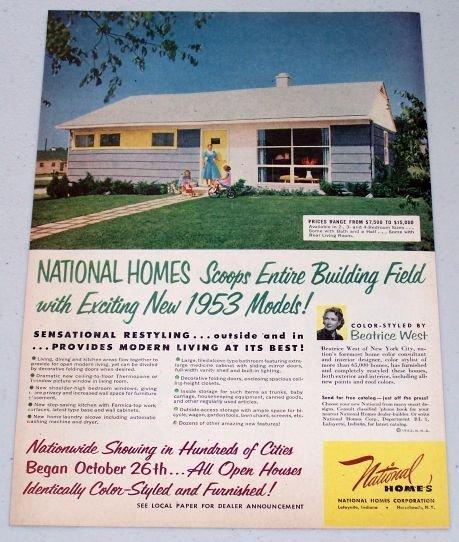 1952 Vintage Color Print Ad For 1953 Model National Homes