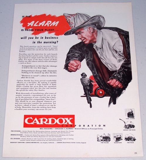 1949 Cardox Corporation Firefighter Art Color Print Ad
