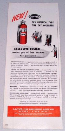 1949 C-O-Two Dry Chemical Type Fire Extinguisher Color Print Ad