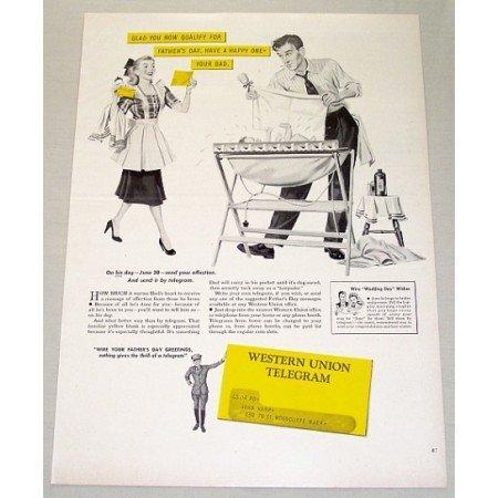 1948 Western Union Telegram Vintage Print Ad - Glad You Now Qualify