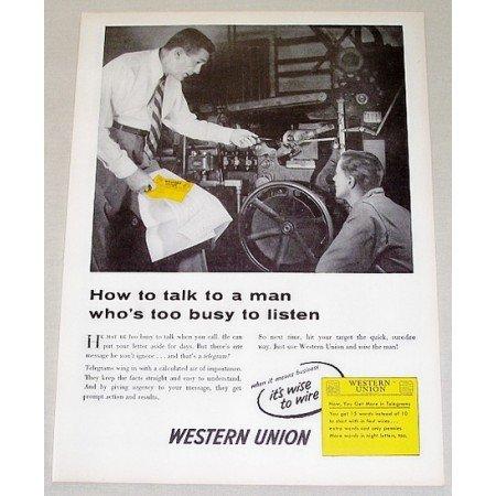 1954 Western Union Telegram Vintage Print Ad - How To Talk..