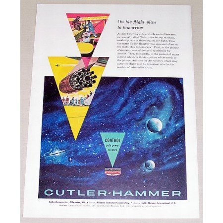 1959 Cutler Hammer Electrical Control Outer Space Art Color Print Ad