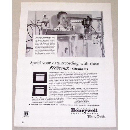 1953 Honeywell Electronik Funtion Plotter Vintage Print Ad