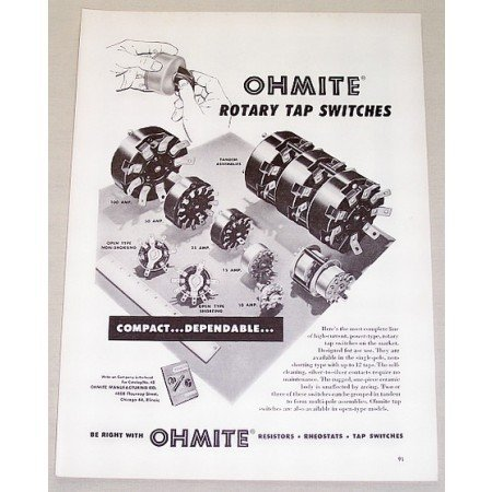 1953 Ohmite Rotary Tap Switches Vintage Print Ad