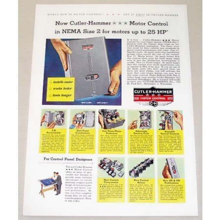 1955 Cutler Hammer Motor Control Nema 2 Color Print Ad