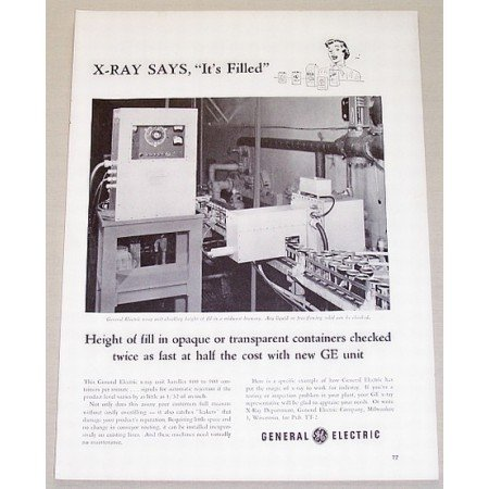 1953 General Electric Container X-Ray Unit Vintage Print Ad