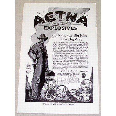1919 Aetna Explosives Vintage Print Ad Doing Big Jobs In A Big Way