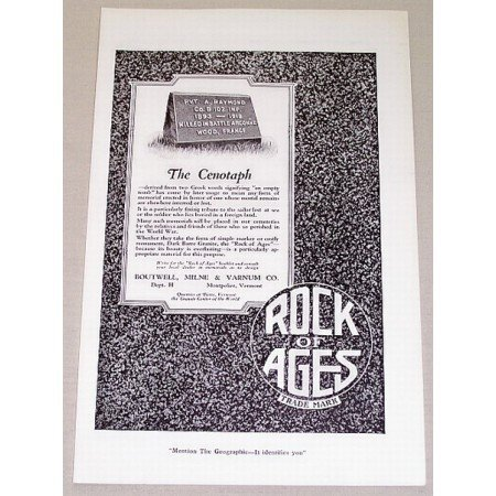 1919 Rock Of Ages Grave Marker Vintage Print Ad The Cenotaph