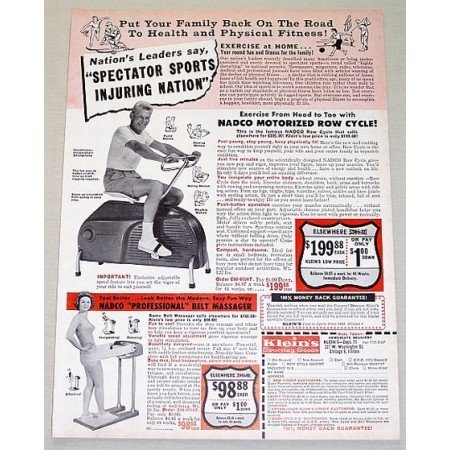 1962 Nadco Motorized Fitness Row Cycle Vintage Print Ad