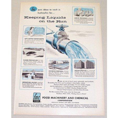 1955 FMC Peerless Pump Division Water Control Color Print Art Ad