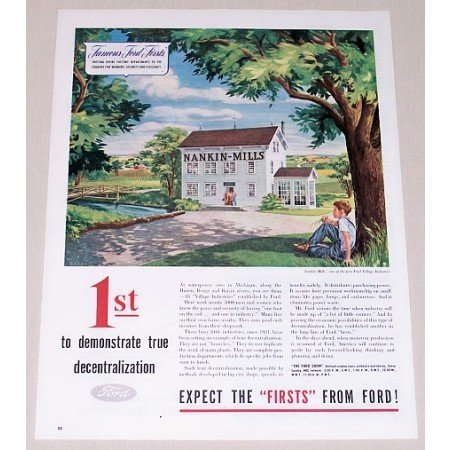 1945 Famous Ford First Nankin Mills Chase Art Color Print Ad