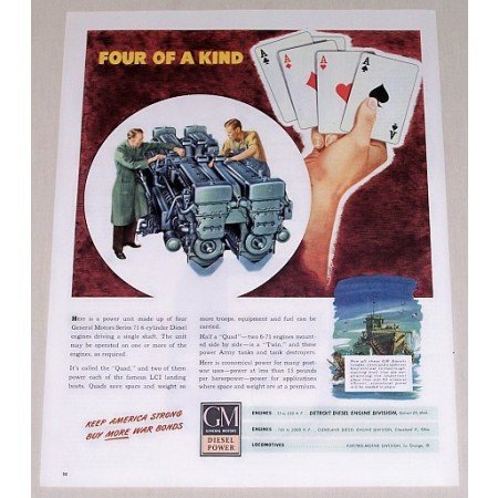 1945 GM Diesel Series 71 6-Cylinder Diesel Engine Color Print Ad