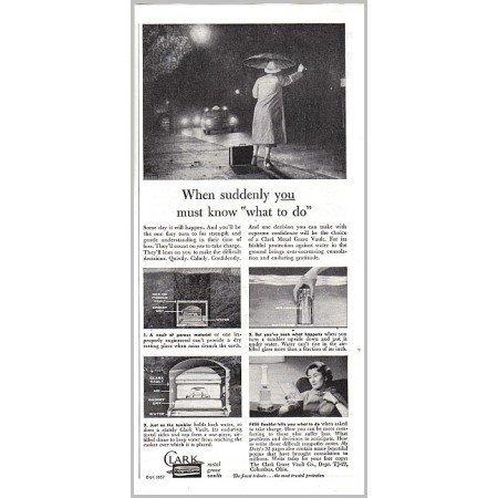 1957 Clark Metal Grave Vault Vintage Print Ad